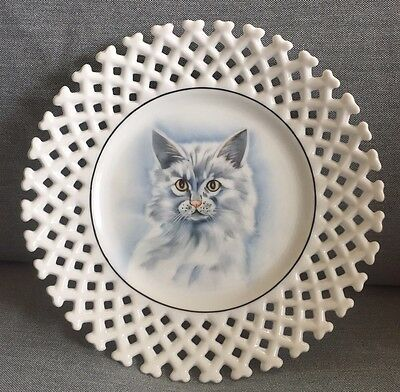 """Vintage Persian Cat Hand Painted Ceramic Plate With Lattice Border, 8"""""""