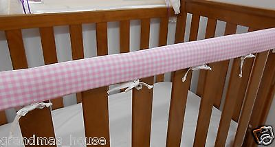 Cot Rail Cover Crib Teething Pad Baby Pink Gingham SET OF TWO