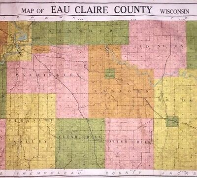 Giant Antique Land Ownership Map of Eau Claire County, Wisconsin (c1895-1920)