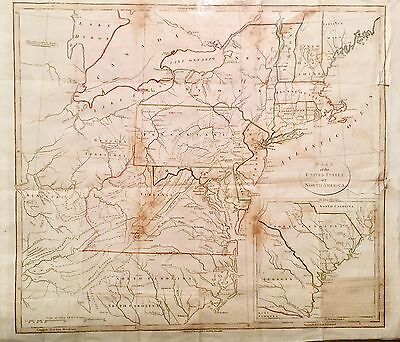 1798 Large Map Of The United States, J. Stockdale. Colored