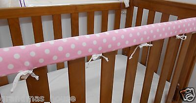 2 x Baby Cot Rail Cover Crib Teething Pad Spots on Baby Pink *REDUCED SET OF TWO