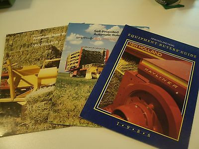 New Holland Farming Brochures - Lot of 3 - 1986 buyers guide, and 2 bale wagons