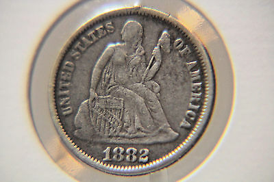 1882 10C Liberty Seated Dime - LOVE TOKEN - Lot # LT 04