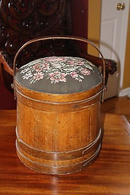 Large Antique Wood Firkin Sugar Bucket with Lid Embroidered Top