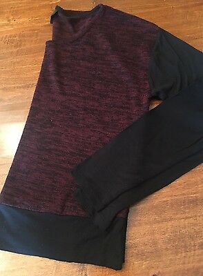 MOSSIMO size S Long Sleeve Maroon Black Sweater Tshirt Top