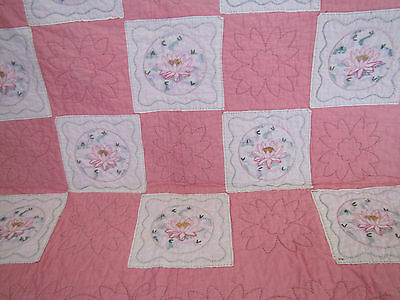 Rare Pink & White Embroidered Pink Lily's Spray Quilt Set Approx 1930's Stunning