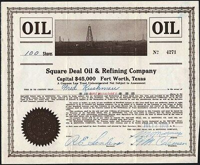 Square Deal Oil & Refining Co, Fort Worth, Texas, 1919 Real Picture Of Field