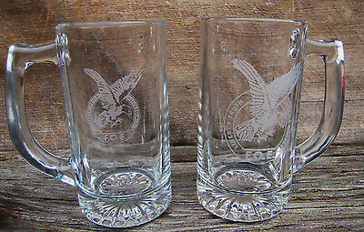 Two Collectible  Glass  Engraved Fraternal Order Of Eagles  Logo Beer  Mugs