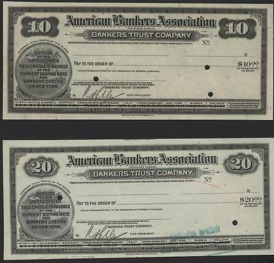 $10.00 + $20.00 American Bankers Association Travelers' Proof Checks