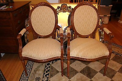 Pair of French Vintage Style Round Back Walnut Fireside Armchairs