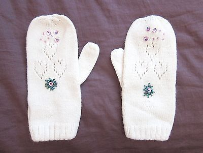 GAP Kids Girls Mittens Gloves. White Knit with Beads & Sequins. Size M. NWOT
