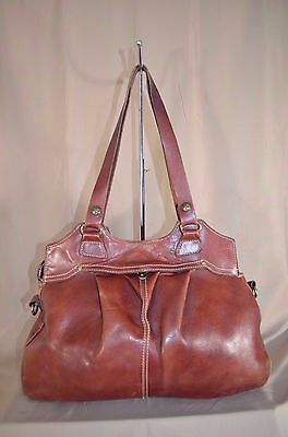 Patricia Nash Brown Leather Shoulder Bag Hobo Tote Purse