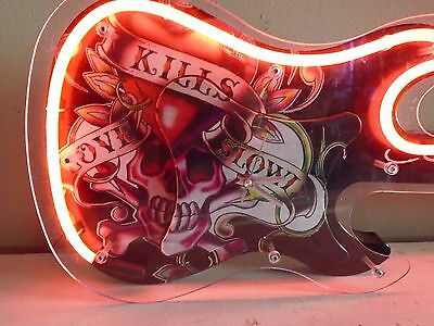 RARE Discontinued Ed Hardy Love Slowly Kills Skull Red Neon Sign Guitar Clock