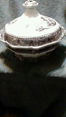 1850s JOHN ALCOCK 9 in MULBERRY OCTAGONAL SOUP TURIN  VINCENNES PATTERN