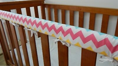 SET OF TWO Cot Crib Rail Cover Teething Pad Rainbow Pastel Chevron  **REDUCED**