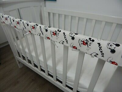 Cot Rail Cover Crib Teething Pad Mickey Mouse Retro Cartoon  x 1
