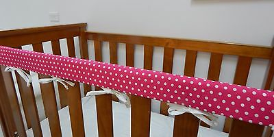 1 x Baby Cot Rail Cover Crib Teething Pad - Polka Dots on Hot Pink **REDUCED**