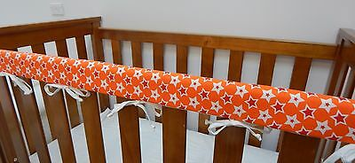 1 x Baby Cot Rail Cover Crib Teething Pad - Stars On Orange **REDUCED**