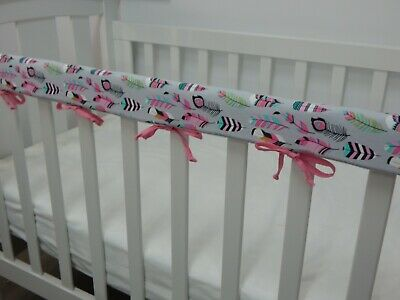 1 x Baby Cot Rail Cover Crib Teething Pad - Pink Feathers on Grey
