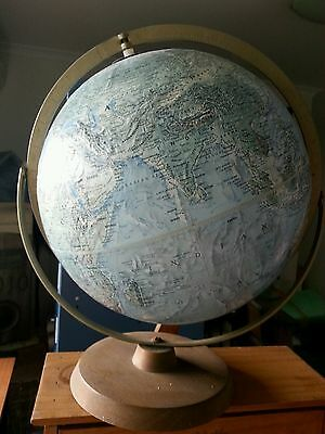 World Map/globe Readers Digest-Vintage Piece-Raised Areas-Wood And Brass-Plus B