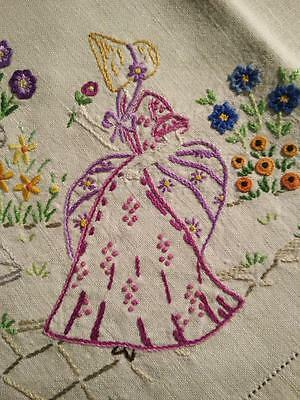 Charming Crinoline Ladies & Cottage Gardens~ Vintage Hand Embroidered Tablecloth