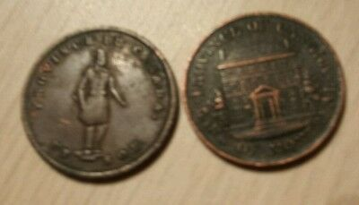 Two Canada Half Penny Bank Tokens 1844 Montreal and 1852 Quebec