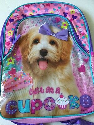 NWT !! School Bag Backpack Puppy Dog Pink