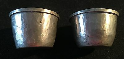 2 x BLUE GLASS LINED PEWTER SALT CELLERS - ARTS & CRAFT PERIOD