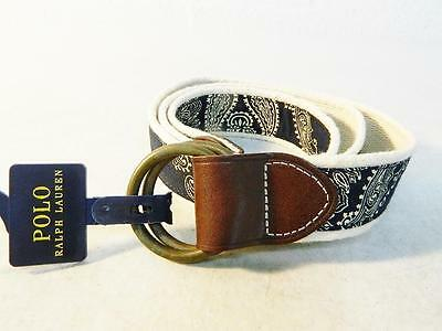 Polo Ralph Lauren Men's Canvas Belt Navy NWT Size M MSRP $75