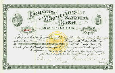 1924 Stock Certificate- Drovers and Mechanics National Bank of BALTIMORE.
