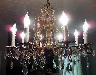 Vintage Antique Double Pineapple Brass  8 Arm 8 Lights Chandelier !100% rewired
