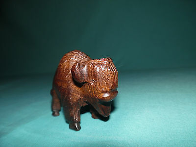 Buffalo bison hand carved wood figurine sculpture little statue carving folk art
