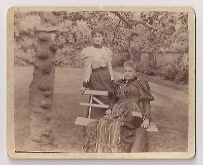 Antique Cabinet Card Photograph Women Outside by Bench Victorian Dress Fashion