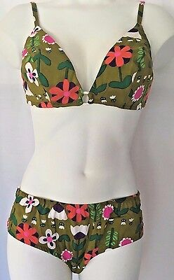 Vintage NWT Two Piece Bathing Suit Swimsuit Bikini Pinup Bombshell NOS 10