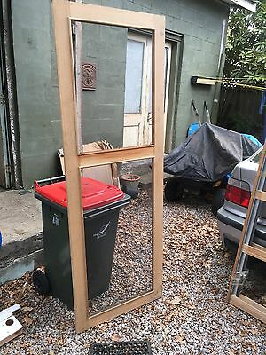 TIMBER SCREEN DOORS 4 off with metal screen