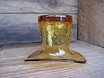 Amber Crackled Glass Mini Top Hat Decorative Collectible Home Decor