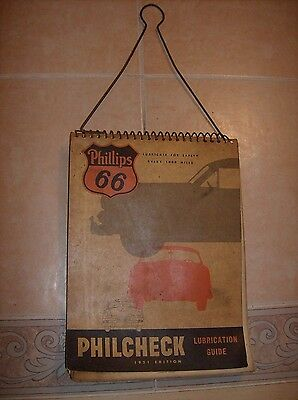 Vintage Phillips 66 1951 Philcheck Lubrication Guide Gas Oil Advertising
