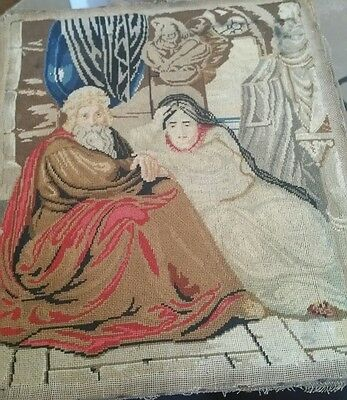 Vintage tapestry waĺl deco of accient  lady and man . Religious, restoration.