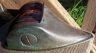 Antique Copper Boat Bow Light Red Lens Maritime Sport Racing