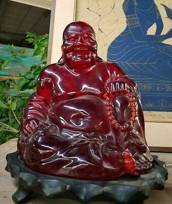Vintage Buddha Ho Tai Happy Laugh Chinese Cherry Amber Resin With Stand