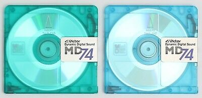 Genuine Victor 'MD74' Recordable Translucent MiniDiscs (x2) 74 Minutes w/ Cases