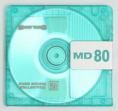 Genuine Sunny Techs Translucent Green Recordable MiniDisc 80 Minutes w/ Case