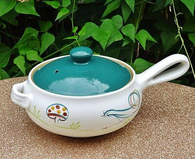 Vintage *DENBY ENGLAND signed A.COLLEGE - ROOSTER CASSEROLE/SAUCEPAN* Stoneware