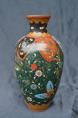 Antique Japanese Cloisonne Vase Mineral Colours  Collectable Butterfly Design