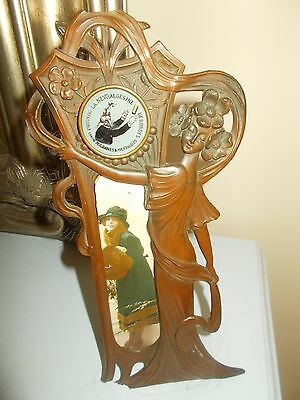 Antique Art Nouveau French Bronze Desk Thermometer / Photo Frame With Advert
