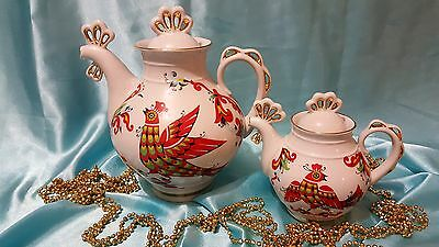 USSR set of 2 porcelain teapots very beautiful! Russian Porcelain LOZ
