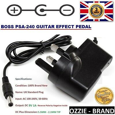UK 9V AC/DC POWER SUPPLY ADAPTER CHARGER for BOSS PSA-240 GUITAR EFFECTS PEDAL