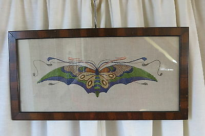Schmetterling  Jugendstil  Stickbild  Butterfly  Embroidery  Art Nouveau Antique