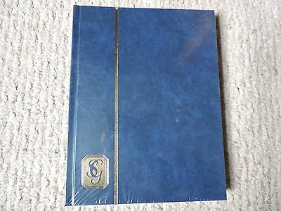 Stanley Gibbons 16-White Page Stockbook- 8 double-sided pages BLUE, PLASTIC WRAP