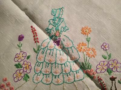 Beautiful Crinoline Ladies & Cottage Gardens~Vintage Hand Embroidered Tablecloth